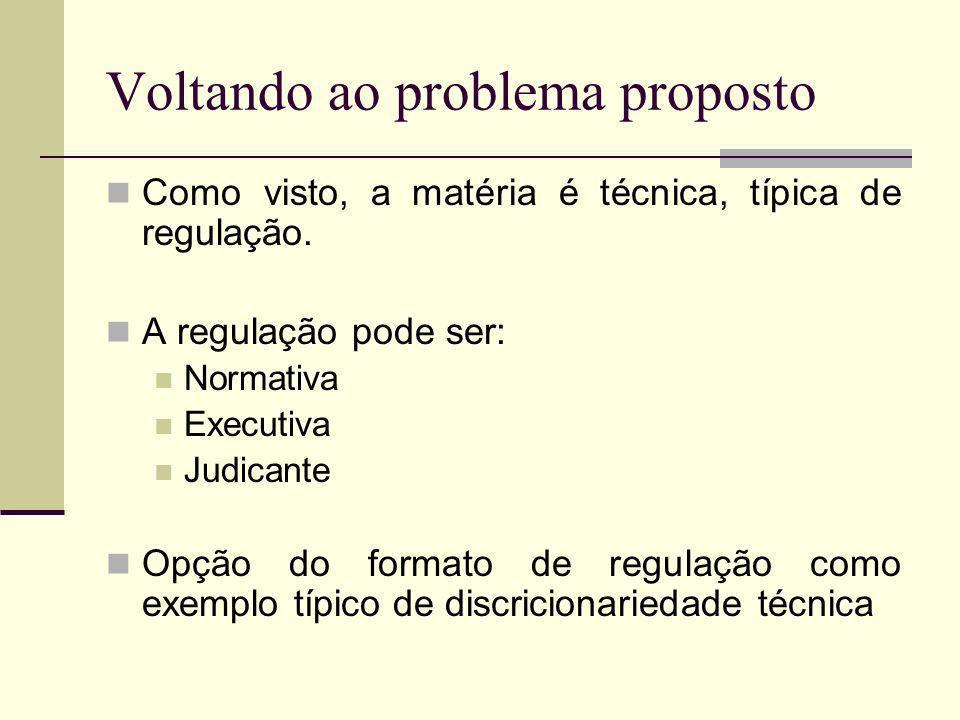 Voltando ao problema proposto Como visto, a matéria é técnica, típica de regulação. A regulação pode ser: Normativa Executiva Judicante Opção do forma