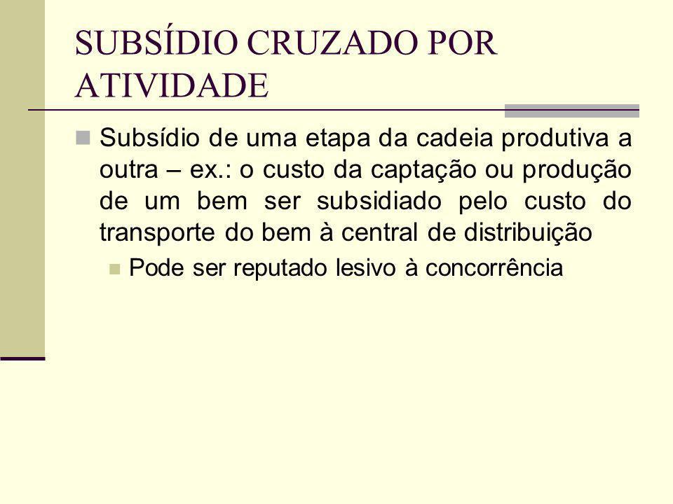 SUBSÍDIO CRUZADO POR ATIVIDADE Subsídio de uma atividade econômica ao serviço público – exemplo: art.