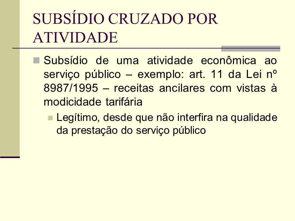SUBSÍDIO CRUZADO POR ATIVIDADE Subsídio de uma atividade econômica ao serviço público – exemplo: art. 11 da Lei nº 8987/1995 – receitas ancilares com