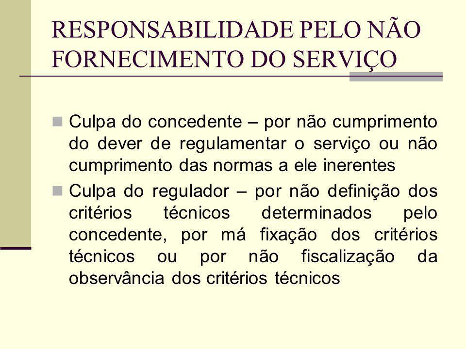 RESPONSABILIDADE PELO NÃO FORNECIMENTO DO SERVIÇO Culpa da concessionária – má prestação do serviço, por exemplo, por má conservação dos bens vinculados à execução da concessão