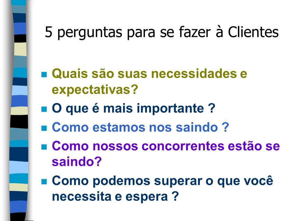 5 perguntas para se fazer à Clientes n Quais são suas necessidades e expectativas.