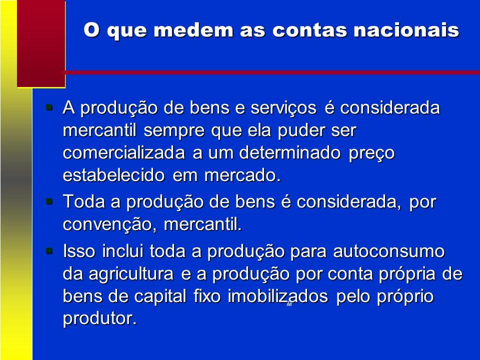 O que medem as contas nacionais i M A produção de bens e serviços é considerada mercantil sempre que ela puder ser comercializada a um determinado pre