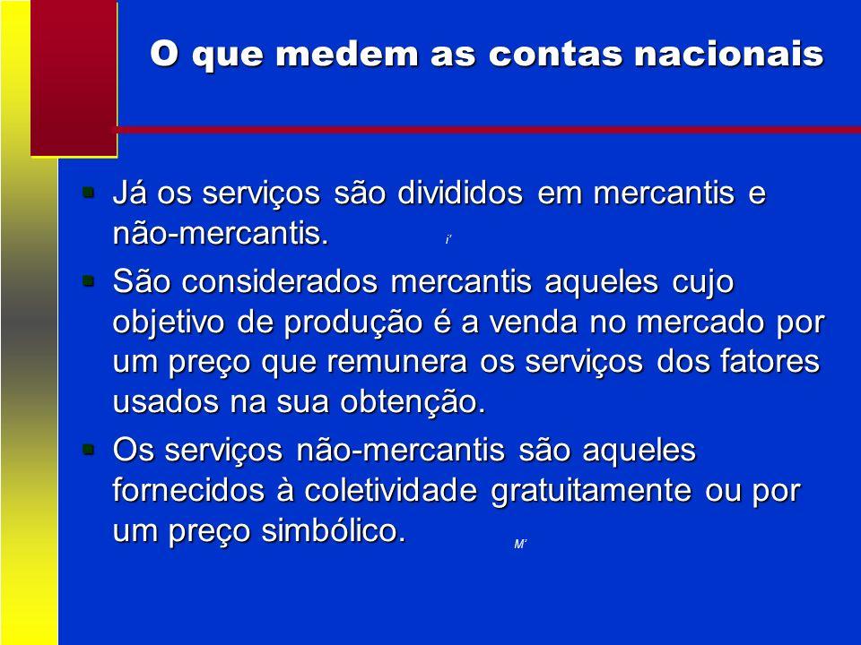 O que medem as contas nacionais i M Já os serviços são divididos em mercantis e não-mercantis. Já os serviços são divididos em mercantis e não-mercant