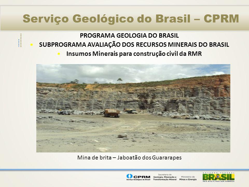 Serviço Geológico do Brasil – CPRM PROGRAMA GEOLOGIA DO BRASIL SUBPROGRAMA AVALIAÇÃO DOS RECURSOS MINERAIS DO BRASIL Insumos Minerais para construção