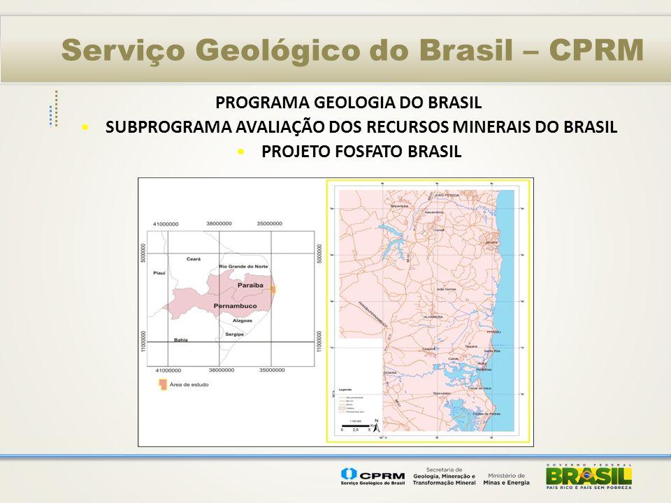 Serviço Geológico do Brasil – CPRM PROGRAMA GEOLOGIA DO BRASIL SUBPROGRAMA AVALIAÇÃO DOS RECURSOS MINERAIS DO BRASIL PROJETO FOSFATO BRASIL