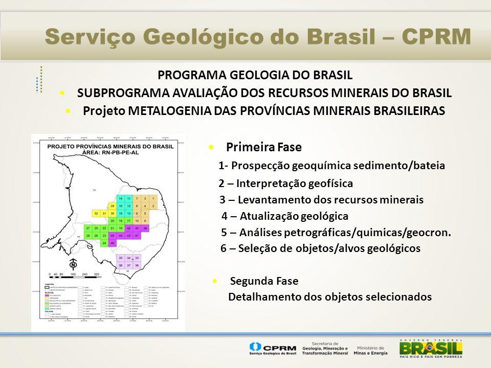 Serviço Geológico do Brasil – CPRM PROGRAMA GEOLOGIA DO BRASIL SUBPROGRAMA AVALIAÇÃO DOS RECURSOS MINERAIS DO BRASIL Projeto METALOGENIA DAS PROVÍNCIA