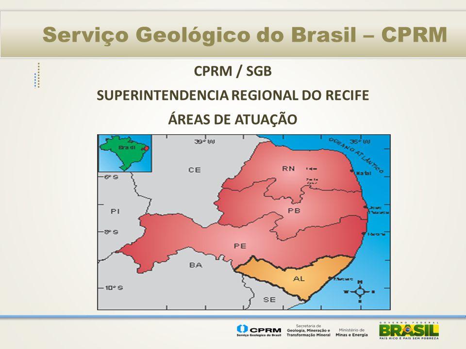 Serviço Geológico do Brasil – CPRM PROGRAMA GEOLOGIA DO BRASIL AVALIAÇÃO DOS RECURSOS MINERAIS DO BRASIL 1 – MINERAIS INDUSTRIAIS DO NORDESTE – Atlas de Matérias Primas Cerâmicas do Nordeste (2011) 2 – MATERIAIS DE CONSTRUÇÃO EM REGIÕES METROPOLITANAS Região Metropolitana de Recife (2012) 3 – GESSO NA CHAPADA DO ARARIPE (Execução) 4 – FOSFATO BRASIL (Em execução) 5 – ATLAS DE ROCHAS ORNAMENTAIS de AL/PE/PB/RN (Execução) 6 – METALOGENIA DAS PROVÍNCIAS MINERAIS BRASILEIRAS – (Exec.)