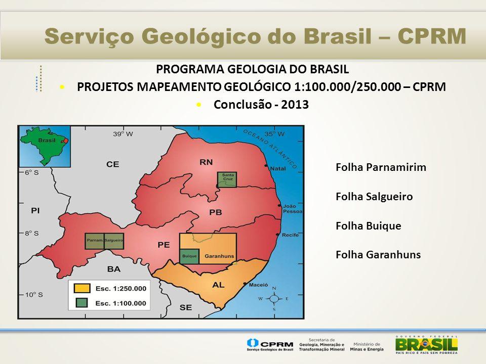 Serviço Geológico do Brasil – CPRM PROGRAMA GEOLOGIA DO BRASIL PROJETOS MAPEAMENTO GEOLÓGICO 1:100.000/250.000 – CPRM Conclusão - 2013 Folha Parnamiri
