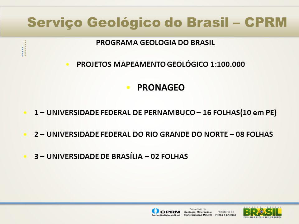 Serviço Geológico do Brasil – CPRM PROGRAMA GEOLOGIA DO BRASIL PROJETOS MAPEAMENTO GEOLÓGICO 1:100.000 Projetos concluidos: Folha Folha Belo Jardim Folha Solânea Folha Garanhuns F Folha Venturosa
