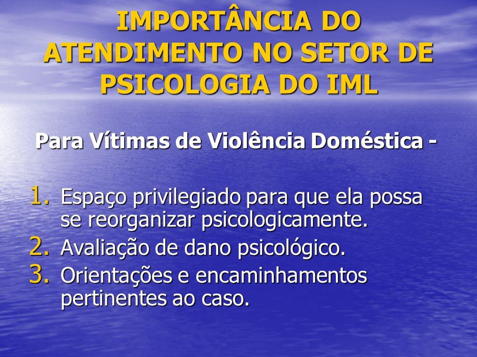 IMPORTÂNCIA DO ATENDIMENTO NO SETOR DE PSICOLOGIA DO IML Para Vítimas de Violência Doméstica - Para Vítimas de Violência Doméstica - 1. Espaço privile