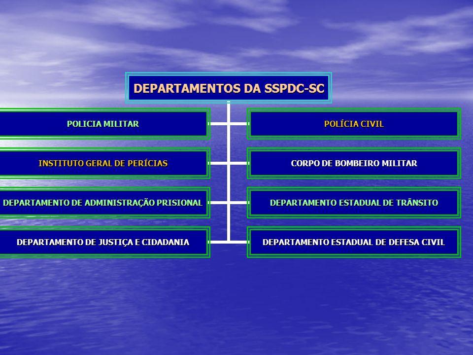 DEPARTAMENTOS DA SSPDC-SC POLICIA MILITAR POLÍCIA CIVIL INSTITUTO GERAL DE PERÍCIAS CORPO DE BOMBEIRO MILITAR DEPARTAMENTO DE ADMINISTRAÇÃO PRISIONAL