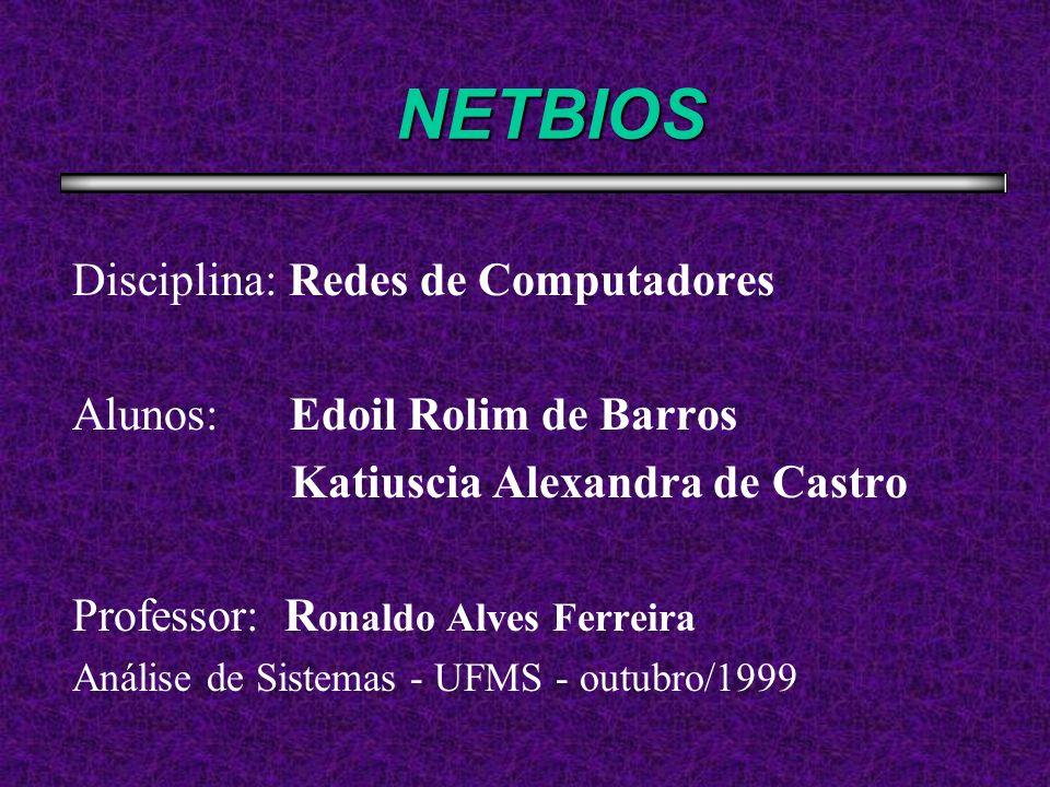 Tópicos da Apresentação Histórico sobre NetBIOS O que é NetBIOS Considerações sobre NetBIOS Primeiros produtos a adotarem NetBIOS Formas de Comunicação NetBIOS Campos do NCB Serviço de Suporte a Nomes NetBIOS Comandos usados pelo Serviço de Suporte a Nomes NetBIOS Serviço de Transmissão de Datagramas Comandos para Transmissão de Datagramas Serviços orientados à conexão Comandos de serviços orientados à conexão Serviços Gerais e seus Comandos Relação NetBIOS / NetBEUI