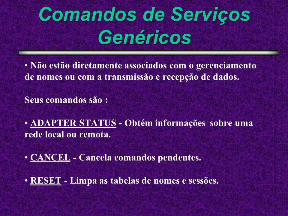 Comandos de Serviços Genéricos Não estão diretamente associados com o gerenciamento de nomes ou com a transmissão e recepção de dados. Seus comandos s
