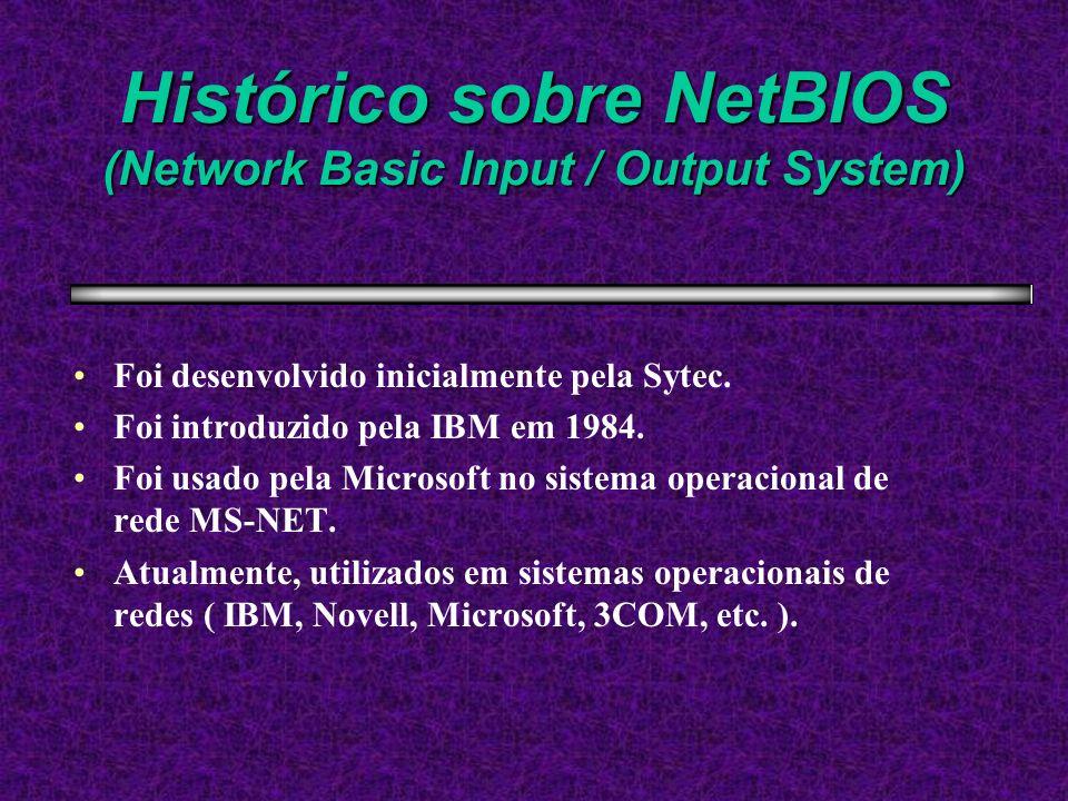 Histórico sobre NetBIOS (Network Basic Input / Output System) Foi desenvolvido inicialmente pela Sytec. Foi introduzido pela IBM em 1984. Foi usado pe