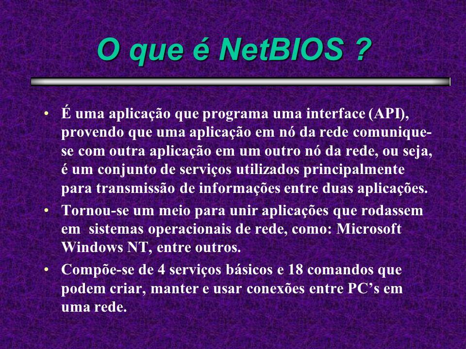 O que é NetBIOS ? É uma aplicação que programa uma interface (API), provendo que uma aplicação em nó da rede comunique- se com outra aplicação em um o
