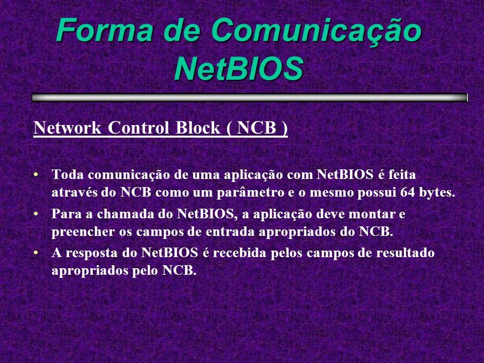Forma de Comunicação NetBIOS Network Control Block ( NCB ) Toda comunicação de uma aplicação com NetBIOS é feita através do NCB como um parâmetro e o
