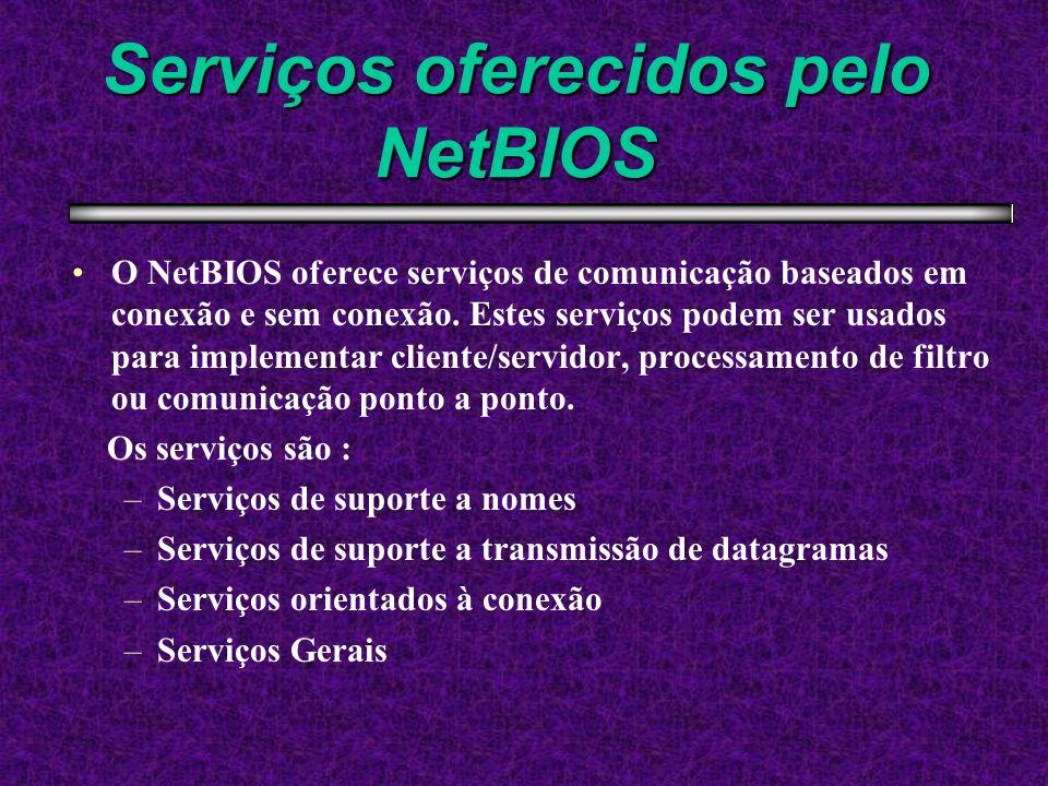 Serviços oferecidos pelo NetBIOS O NetBIOS oferece serviços de comunicação baseados em conexão e sem conexão. Estes serviços podem ser usados para imp