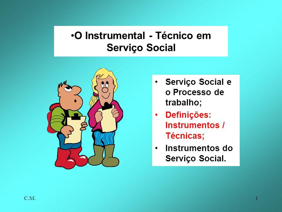 C.M.1 O Instrumental - Técnico em Serviço Social Serviço Social e o Processo de trabalho; Definições: Instrumentos / Técnicas; Instrumentos do Serviço Social.