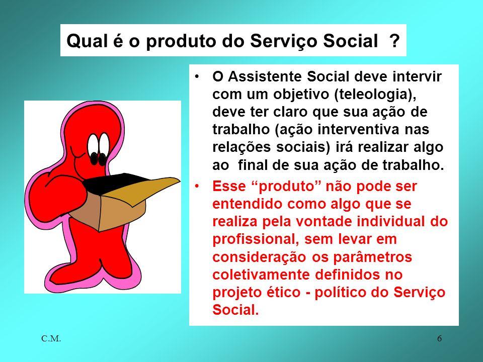 C.M.6 Qual é o produto do Serviço Social .