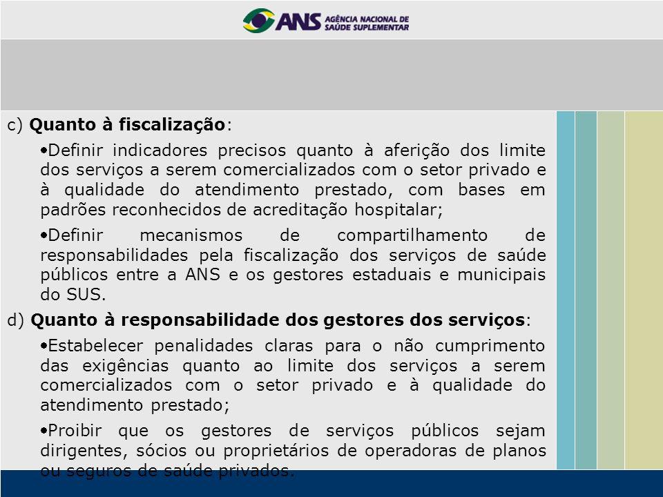 c) Quanto à fiscalização: Definir indicadores precisos quanto à aferição dos limite dos serviços a serem comercializados com o setor privado e à quali