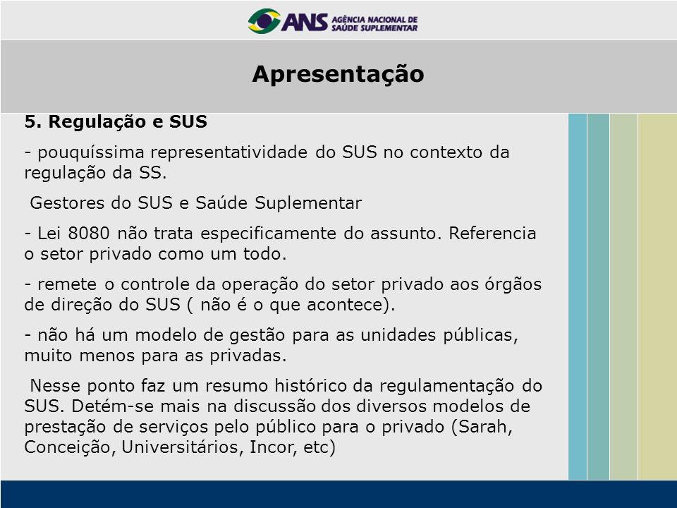 5. Regulação e SUS - pouquíssima representatividade do SUS no contexto da regulação da SS. Gestores do SUS e Saúde Suplementar - Lei 8080 não trata es