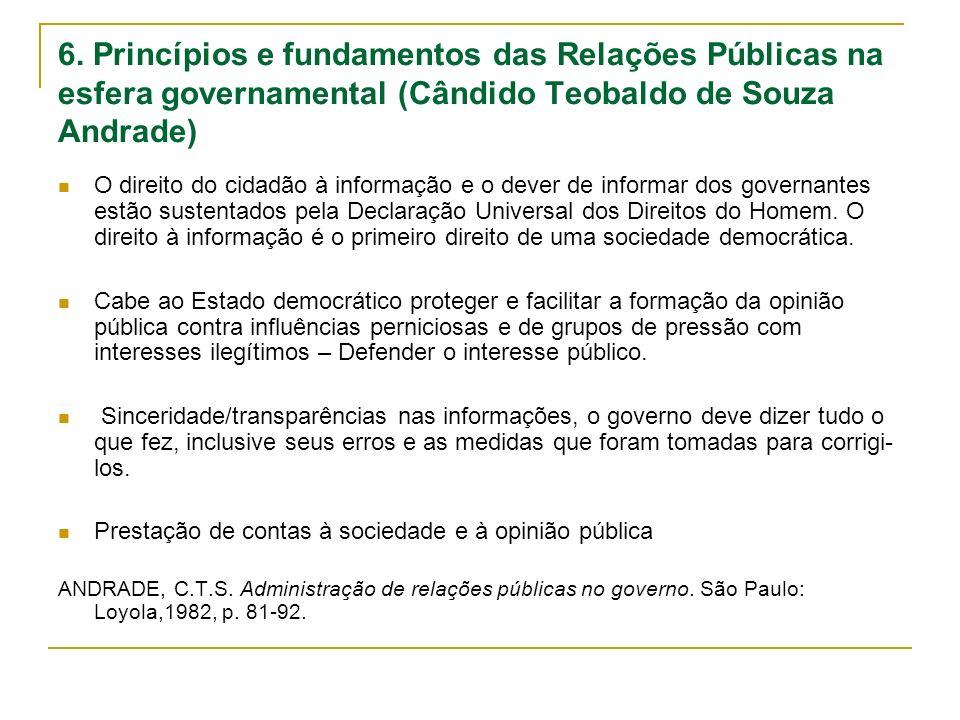 6. Princípios e fundamentos das Relações Públicas na esfera governamental (Cândido Teobaldo de Souza Andrade) O direito do cidadão à informação e o de