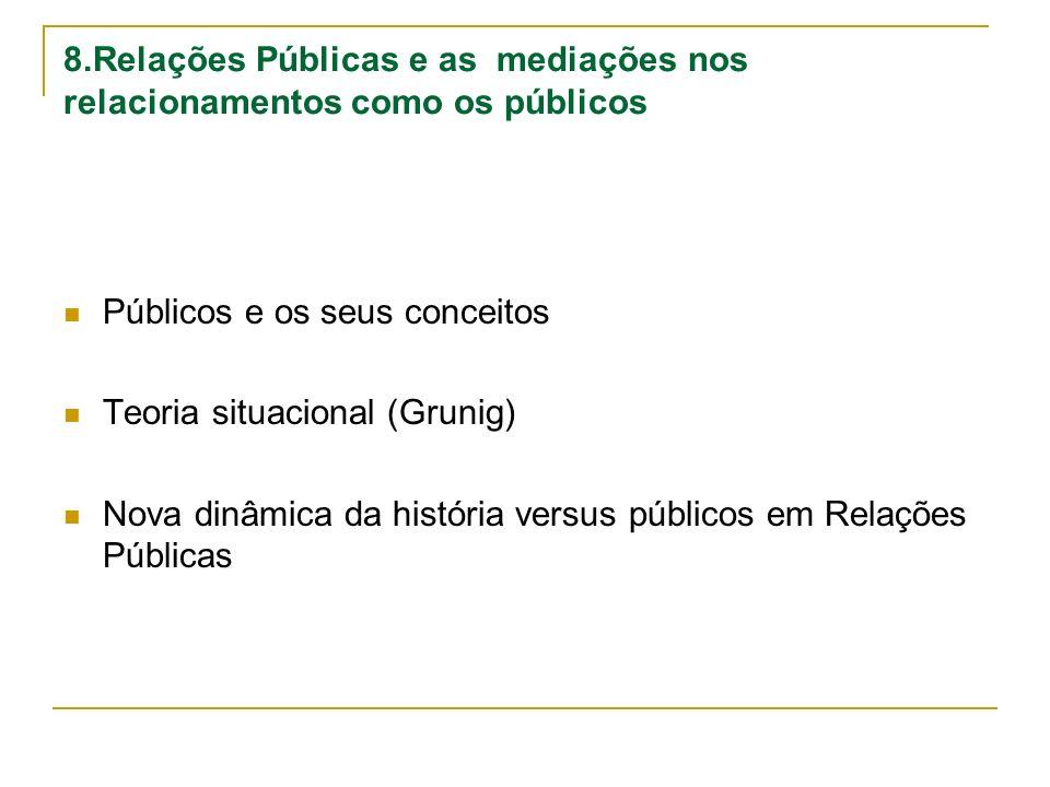 8.Relações Públicas e as mediações nos relacionamentos como os públicos Públicos e os seus conceitos Teoria situacional (Grunig) Nova dinâmica da hist