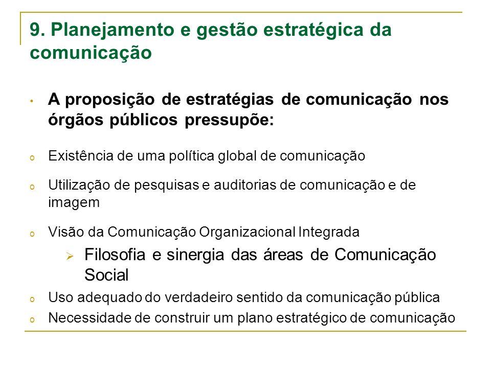 9. Planejamento e gestão estratégica da comunicação A proposição de estratégias de comunicação nos órgãos públicos pressupõe: o Existência de uma polí