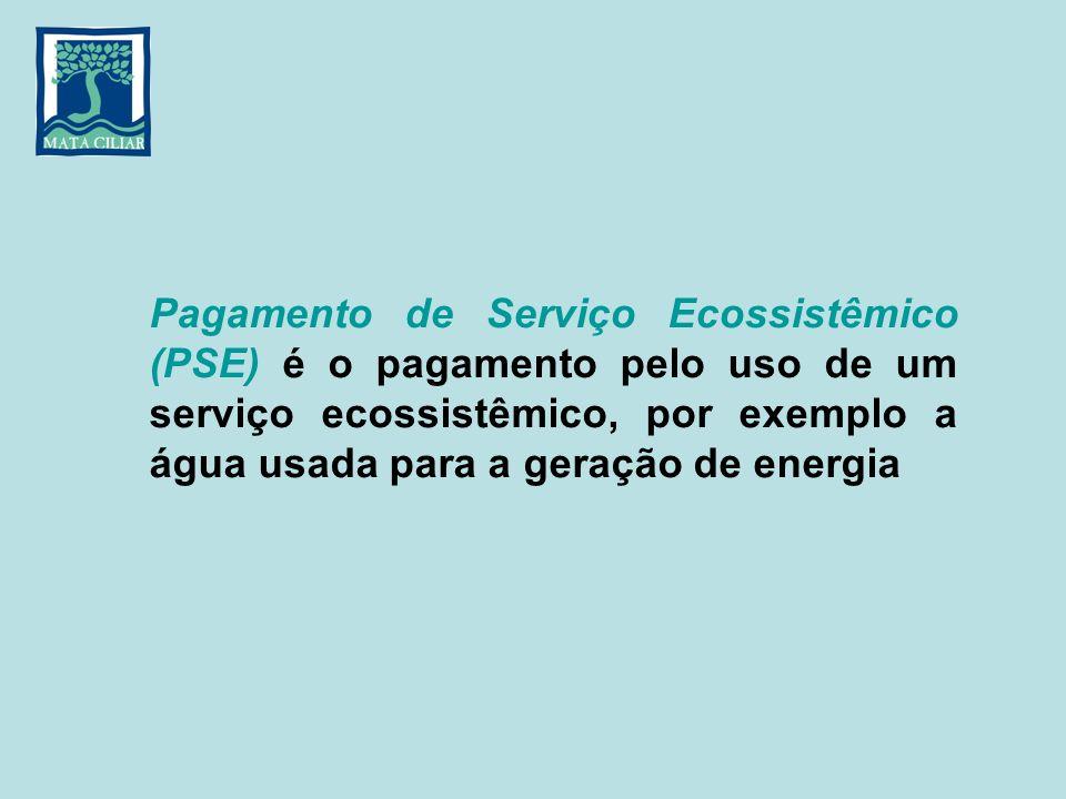 Pagamento de Serviço Ecossistêmico (PSE) é o pagamento pelo uso de um serviço ecossistêmico, por exemplo a água usada para a geração de energia