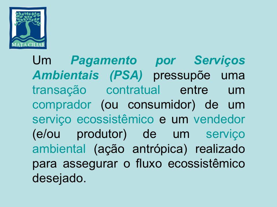 Um Pagamento por Serviços Ambientais (PSA) pressupõe uma transação contratual entre um comprador (ou consumidor) de um serviço ecossistêmico e um vend