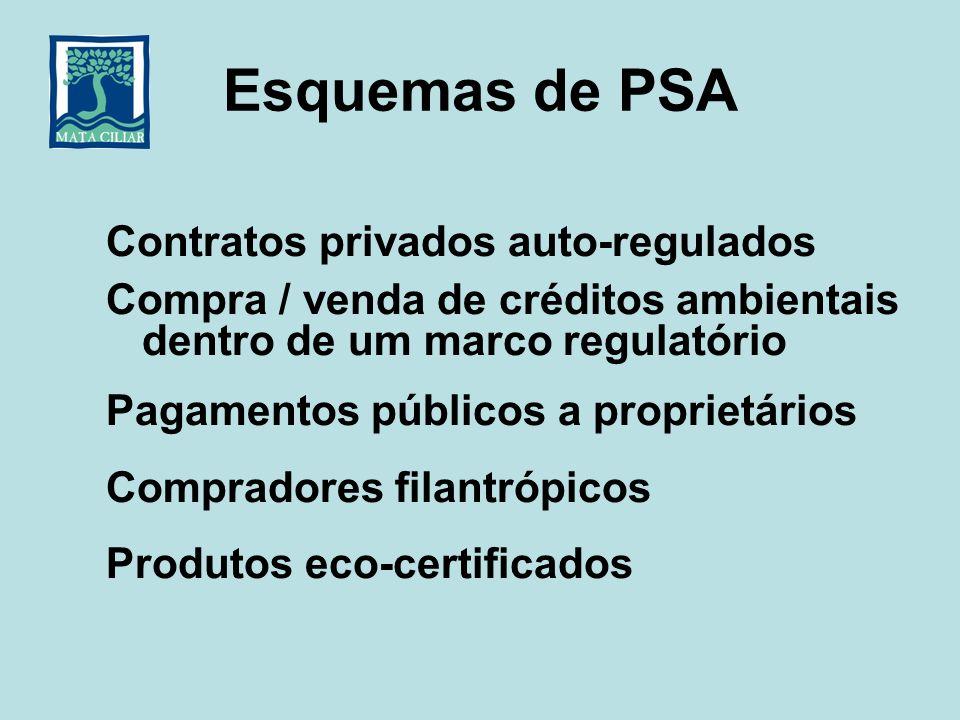 Esquemas de PSA Contratos privados auto-regulados Compra / venda de créditos ambientais dentro de um marco regulatório Pagamentos públicos a proprietá