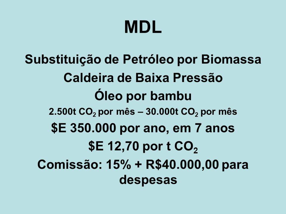 MDL Substituição de Petróleo por Biomassa Caldeira de Baixa Pressão Óleo por bambu 2.500t CO 2 por mês – 30.000t CO 2 por mês $E 350.000 por ano, em 7