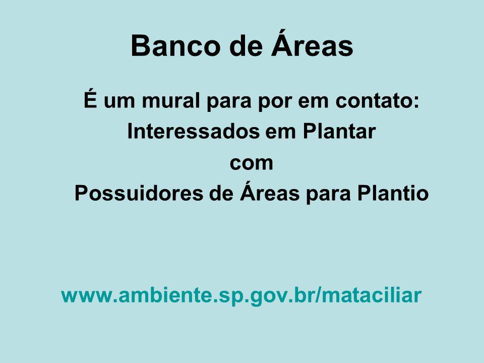 Banco de Áreas www.ambiente.sp.gov.br/mataciliar É um mural para por em contato: Interessados em Plantar com Possuidores de Áreas para Plantio