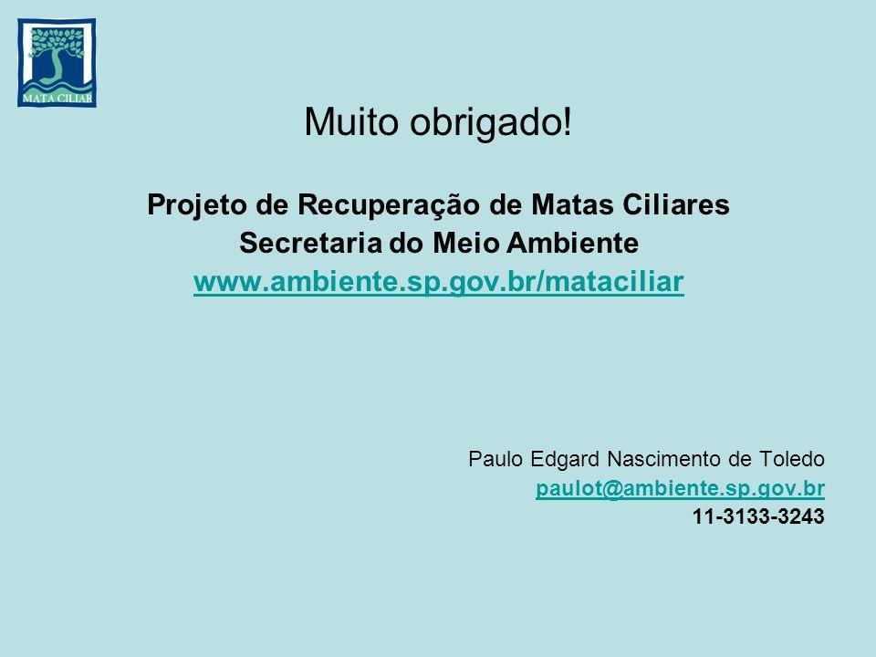 Muito obrigado! Projeto de Recuperação de Matas Ciliares Secretaria do Meio Ambiente www.ambiente.sp.gov.br/mataciliar Paulo Edgard Nascimento de Tole