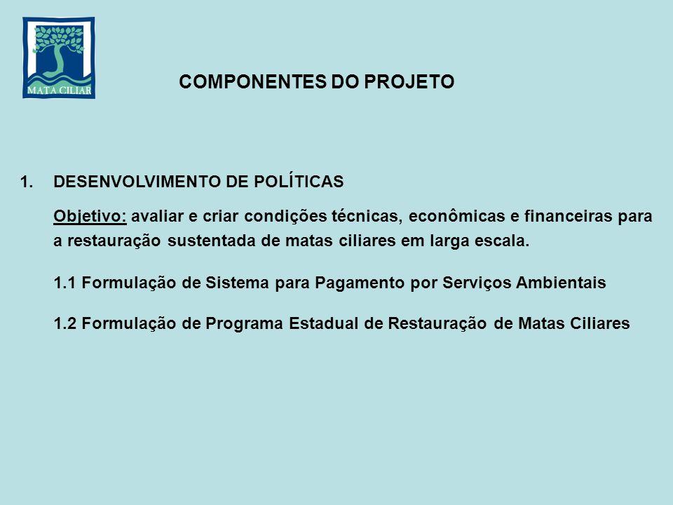 1. DESENVOLVIMENTO DE POLÍTICAS Objetivo: avaliar e criar condições técnicas, econômicas e financeiras para a restauração sustentada de matas ciliares