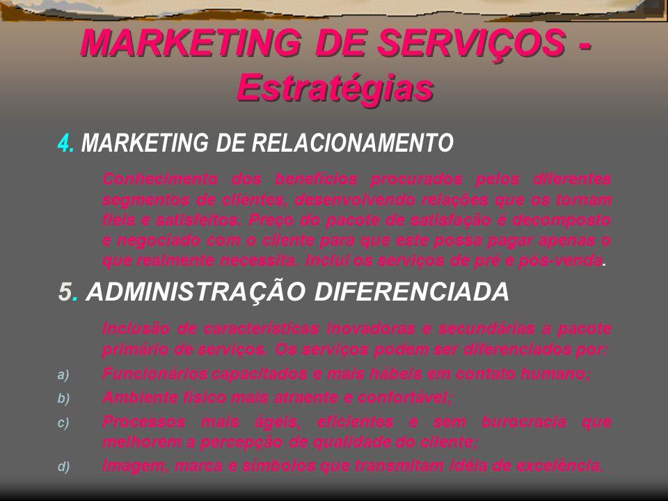 MARKETING DE SERVIÇOS - Estratégias 4. MARKETING DE RELACIONAMENTO Conhecimento dos benefícios procurados pelos diferentes segmentos de clientes, dese