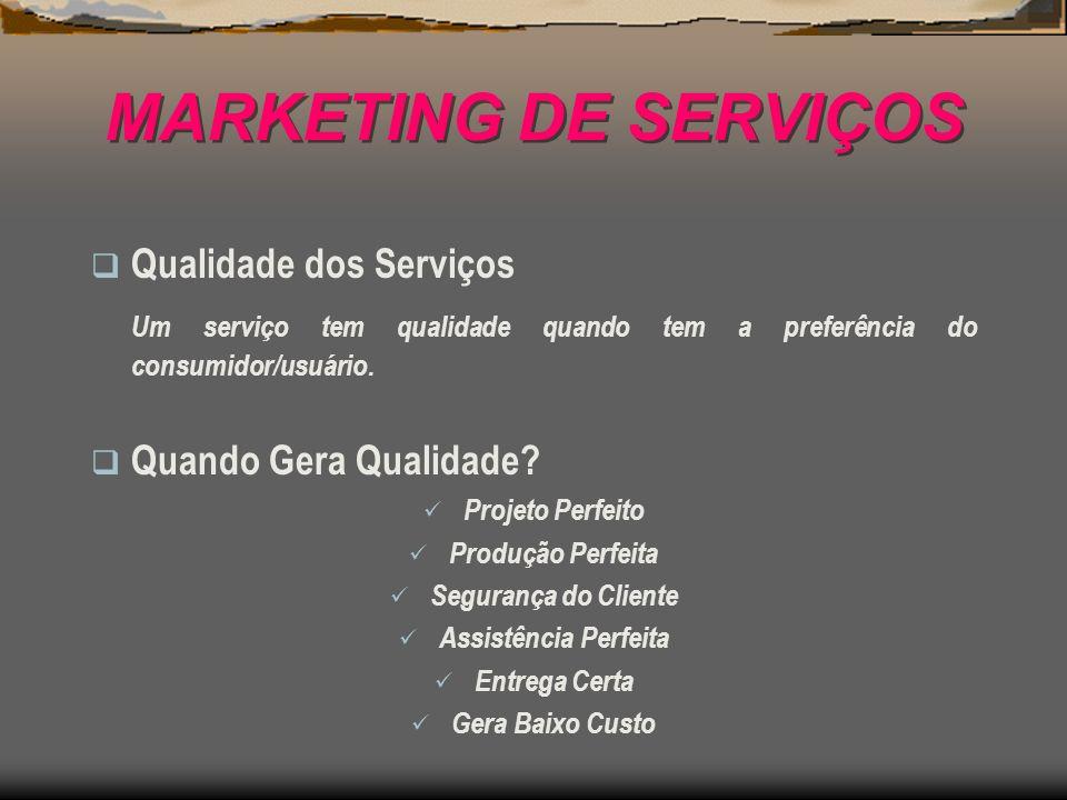 MARKETING DE SERVIÇOS Qualidade dos Serviços Um serviço tem qualidade quando tem a preferência do consumidor/usuário. Quando Gera Qualidade? Projeto P