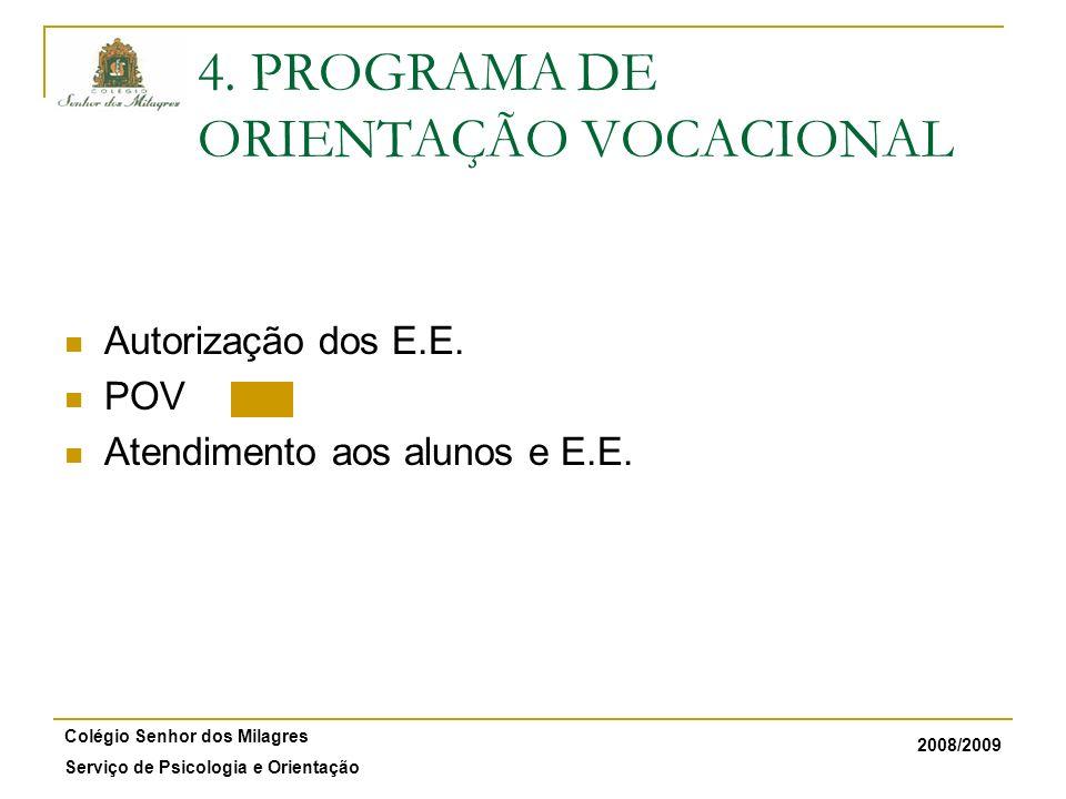 2008/2009 Colégio Senhor dos Milagres Serviço de Psicologia e Orientação 4. PROGRAMA DE ORIENTAÇÃO VOCACIONAL Autorização dos E.E. POV Atendimento aos