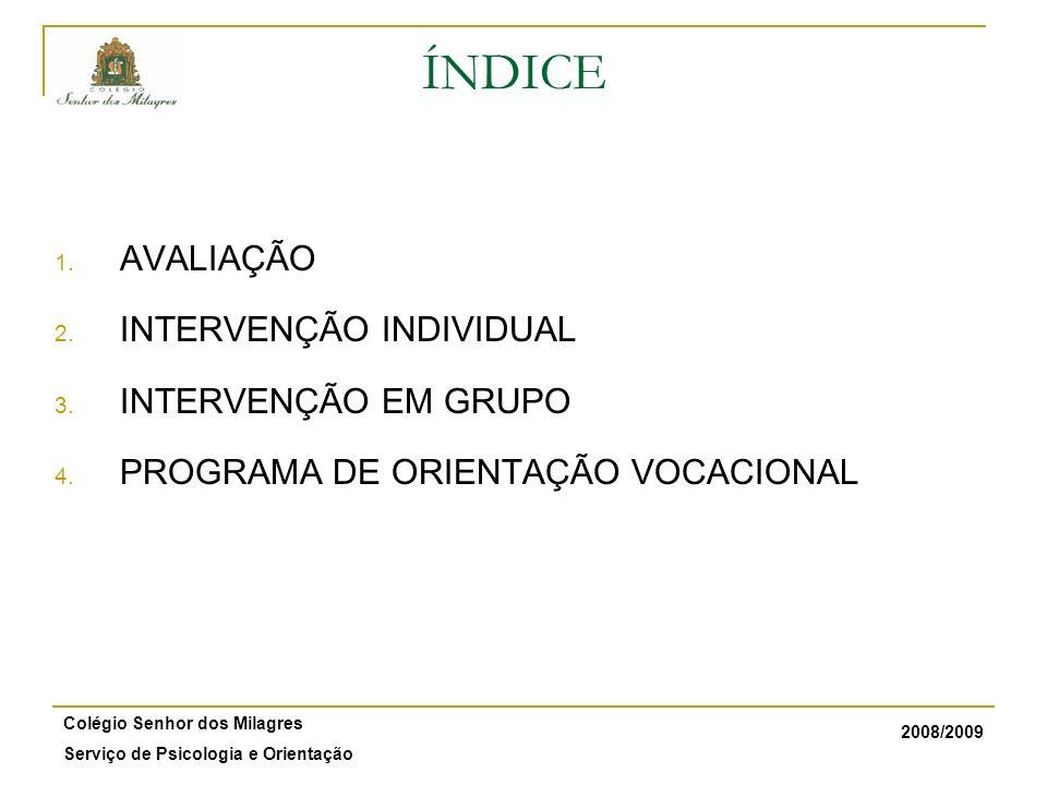 2008/2009 Colégio Senhor dos Milagres Serviço de Psicologia e Orientação ÍNDICE 1. AVALIAÇÃO 2. INTERVENÇÃO INDIVIDUAL 3. INTERVENÇÃO EM GRUPO 4. PROG