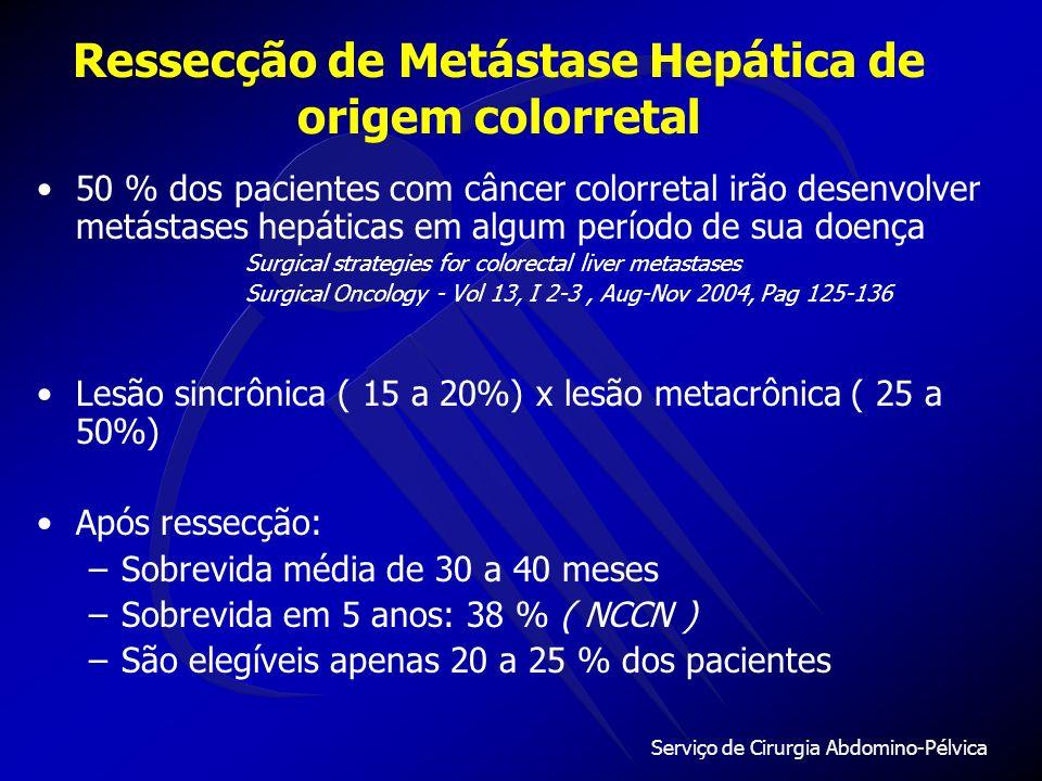 Serviço de Cirurgia Abdomino-Pélvica 50 % dos pacientes com câncer colorretal irão desenvolver metástases hepáticas em algum período de sua doença Surgical strategies for colorectal liver metastases Surgical Oncology - Vol 13, I 2-3, Aug-Nov 2004, Pag 125-136 Lesão sincrônica ( 15 a 20%) x lesão metacrônica ( 25 a 50%) Após ressecção: –Sobrevida média de 30 a 40 meses –Sobrevida em 5 anos: 38 % ( NCCN ) –São elegíveis apenas 20 a 25 % dos pacientes Ressecção de Metástase Hepática de origem colorretal