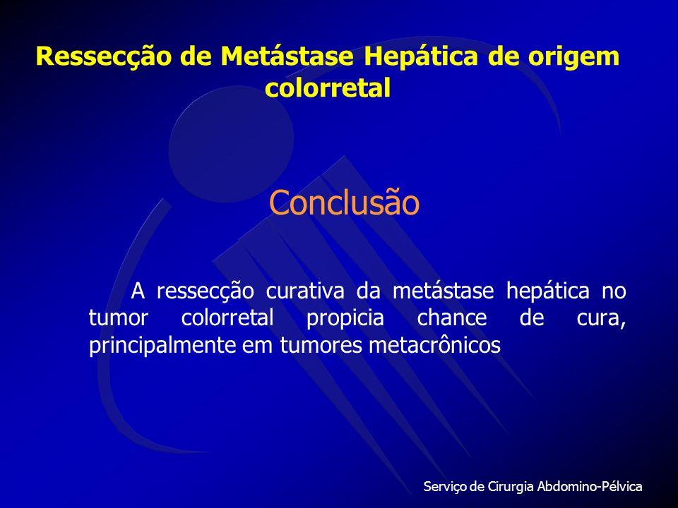 Serviço de Cirurgia Abdomino-Pélvica Ressecção de Metástase Hepática de origem colorretal Sobrevida estimada39% Tumores metacrônicos59% Tumores sincrô