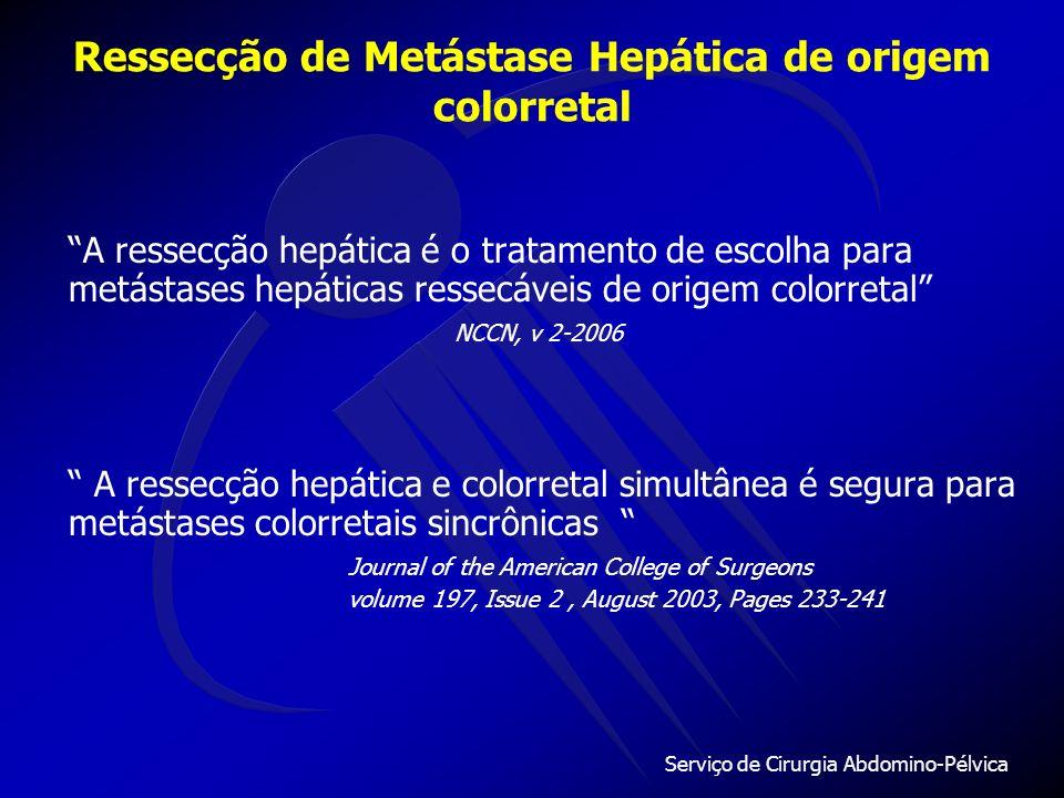 Serviço de Cirurgia Abdomino-Pélvica Ressecção de Metástase Hepática de origem colorretal Conclusão A ressecção curativa da metástase hepática no tumor colorretal propicia chance de cura, principalmente em tumores metacrônicos