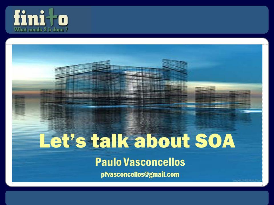 O Programa SOA SOA é uma iniciativa de longo prazo (3 – 5 anos); Que compreende a execução de dezenas ou centenas de projetos; Projetos que devem respeitar Estruturas, Processos e Padrões; Além (ou apesar) de adotarem integralmente o conceito de Acoplamento Fraco que caracteriza os Serviços.