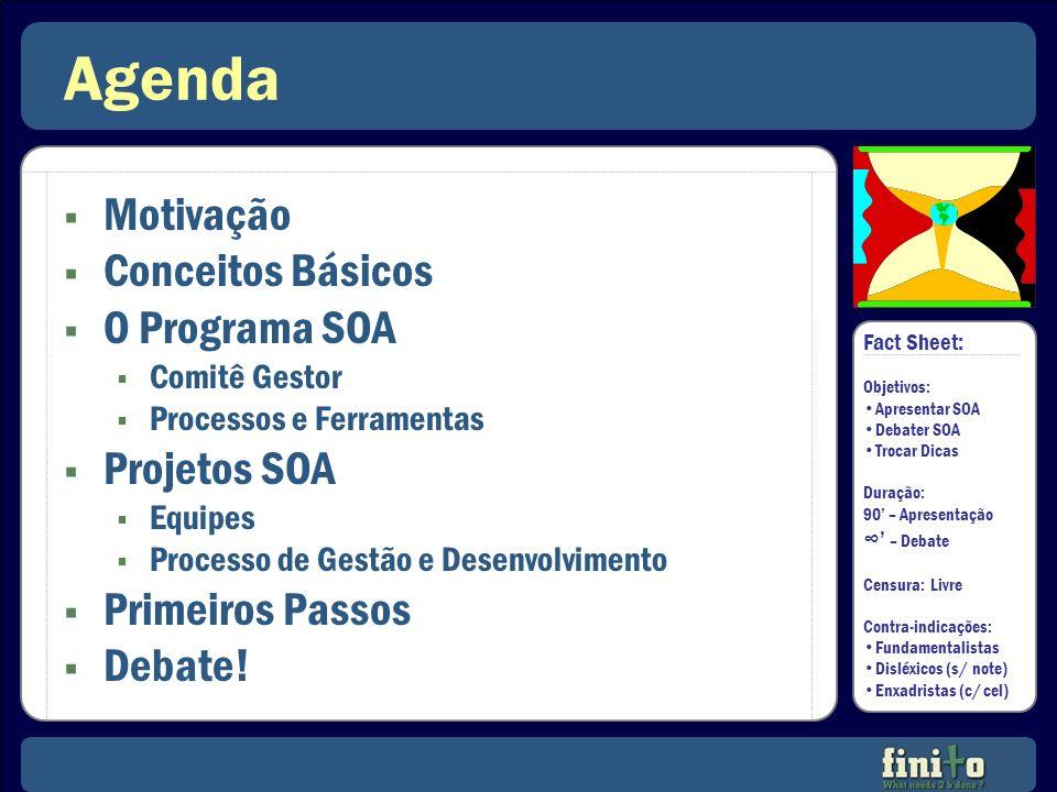 Agenda Motivação Conceitos Básicos O Programa SOA Comitê Gestor Processos e Ferramentas Projetos SOA Equipes Processo de Gestão e Desenvolvimento Prim