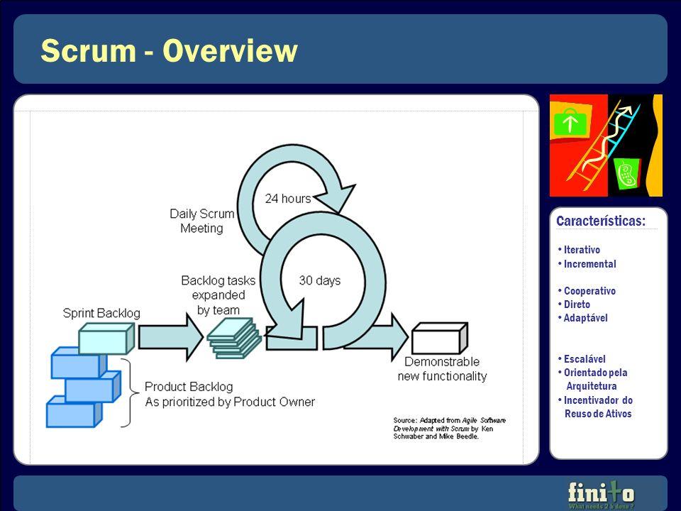 Scrum - Overview Características: Iterativo Incremental Cooperativo Direto Adaptável Escalável Orientado pela Arquitetura Incentivador do Reuso de Ati