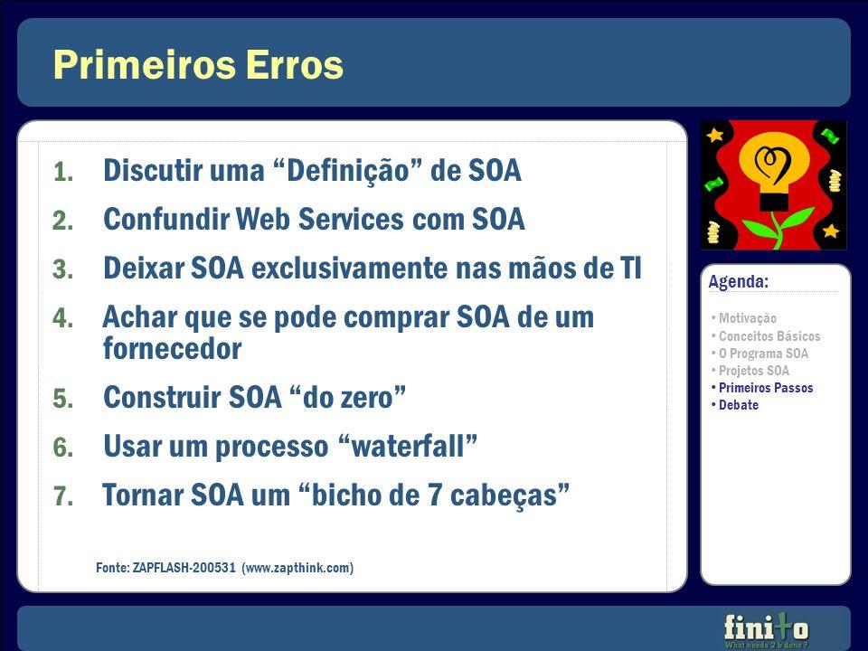 Primeiros Erros 1. Discutir uma Definição de SOA 2. Confundir Web Services com SOA 3. Deixar SOA exclusivamente nas mãos de TI 4. Achar que se pode co