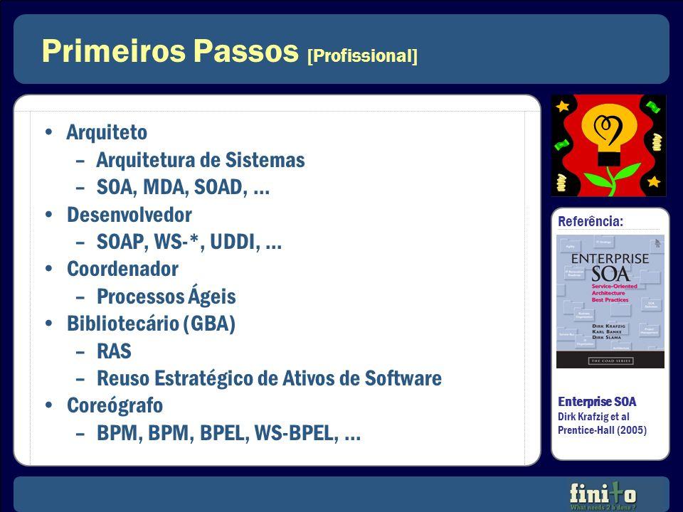Primeiros Passos [Profissional] Arquiteto –Arquitetura de Sistemas –SOA, MDA, SOAD,... Desenvolvedor –SOAP, WS-*, UDDI,... Coordenador –Processos Ágei