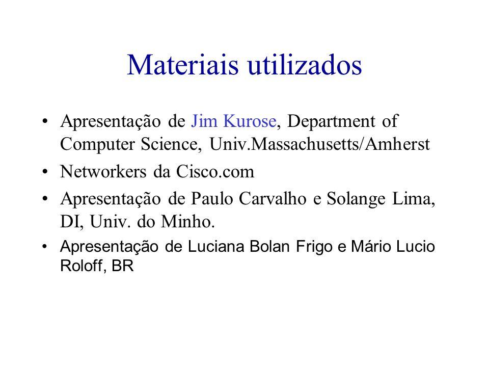 Materiais utilizados Apresentação de Jim Kurose, Department of Computer Science, Univ.Massachusetts/Amherst Networkers da Cisco.com Apresentação de Pa