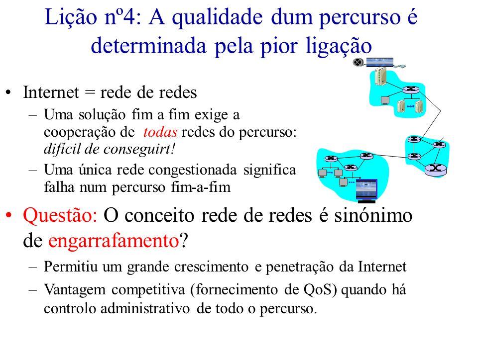 Lição nº4: A qualidade dum percurso é determinada pela pior ligação Internet = rede de redes –Uma solução fim a fim exige a cooperação de todas redes