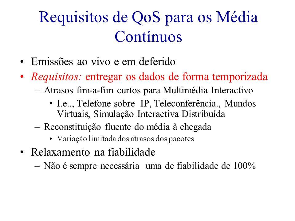 Requisitos de QoS para os Média Contínuos Emissões ao vivo e em deferido Requisitos: entregar os dados de forma temporizada –Atrasos fim-a-fim curtos